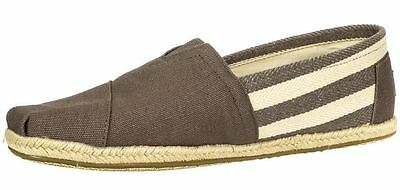 Toms Classic University Grey White Stripes Womens Canvas Espadrille Slipons