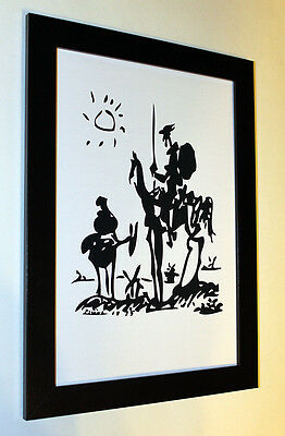 "Pablo Picasso ""don Quixote"" print art paper, framed, giclee 6.8X8.8"