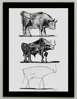 Pablo Picasso Bull print art paper framed giclee 6.8X8.8 poster reproduction art