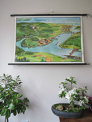 Vintage Pull Down German School Wall Chart Of A River 1965 Vintage School Chart