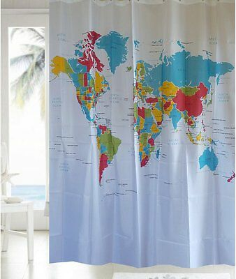 My Home World Map Fabric Shower Curtain Free Shipping New