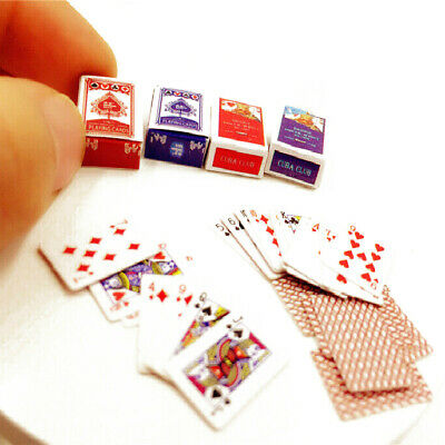 Miniature Poker Model Card Deck Set Dollhouse Playing Cards Accessories