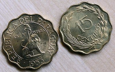 1953 Paraguay 15 and 25 Centimos Lot of 2 Coins