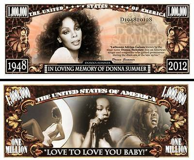 DONNA SUMMER - BILLET Commémoratif  MILLION DOLLAR US ! Collection Musique Disco