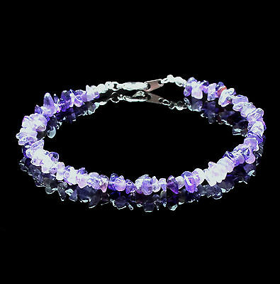 Amethyst Chip and Sterling Silver .925 Anklet