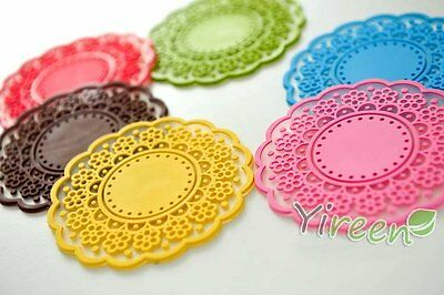 Set of 6 COLORFUL SILICONE FLORAL LACE COASTER CUP CUSHION HOLDER DRINK PLACEMAT