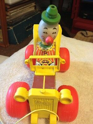 Vintage 1960's FISHER PRICE CLOWN DRIVING JALOPY #724 WOOD & SOME PLASTIC