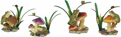 Set of 4 Frog on Mushroom Collectible Garden Decoration Figure Sculpture Statue