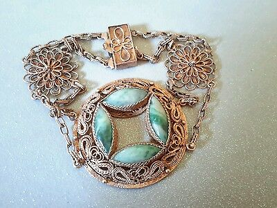 Antique Art Deco Sterling Chinese Carved Jade Filigree Bracelet