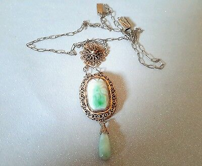 Antique Art Deco Silver Chinese Carved Jade Filigree Necklace