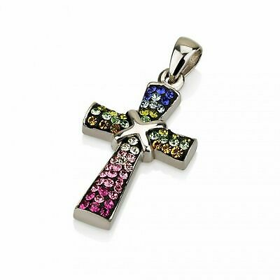 Sterling silver 925 Rainbow multi color swarovski crystals Cross pendant