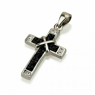 Sterling silver 925 black & white swarovski stones Cross pendant from Jerusalem
