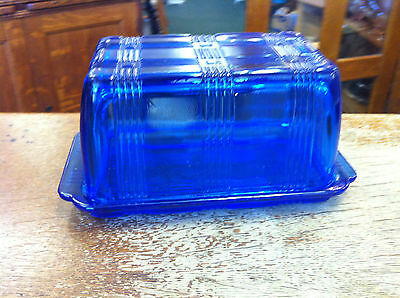 Hazel Atlas Cobalt Blue Crisscross 1 Pound Covered Butter Dish