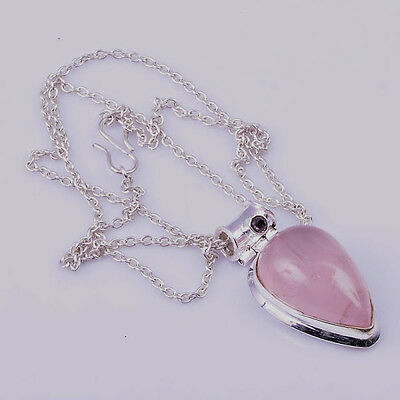 Rose Quartz and Amethyst 925 Sterling Silver Pendant - the LOVE crystal