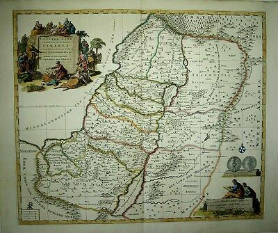 1700 Pierre Mortier Map HOLY LAND 12 TRIBES + TRAVELS OF JESUS Fine Vignettes!
