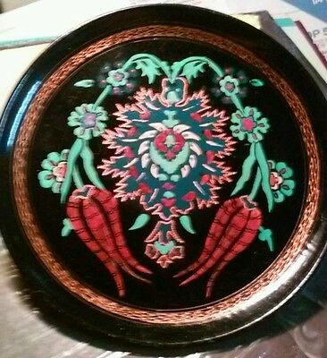 Vintage Engraved And Painted Enamel Copper Turkish Plate - Amazing Decoration