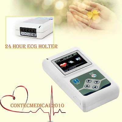 NEW CONTEC 3-Channel 5-leads ECG / EKG Holter Logiciel PC 24hours OLED RECORDER