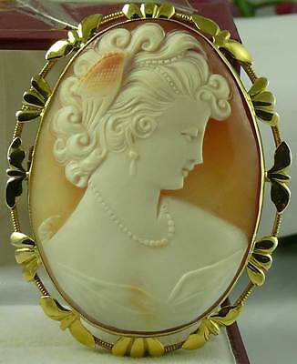 Large Heavy 21.6 Gr Vintage 9Ct Gold English Shell Cameo Brooch