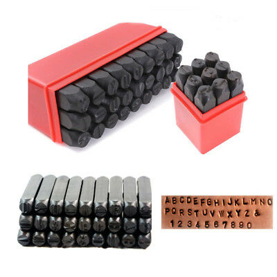 36Pc 4mm Stamps Letters Alphabet Numbers Set Punch Steel Metal Tool Case Craft