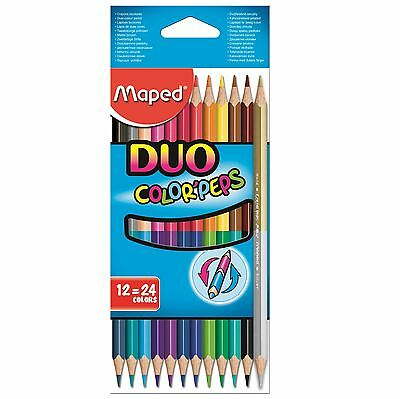 Helix Maped Colour Peps Duo Pencil Crayons Double Ended Stationery Color 12 Pack