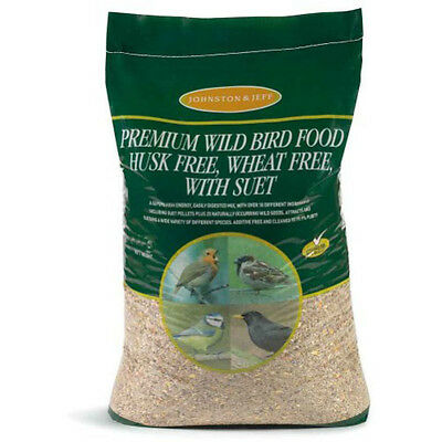 20kg Johnston & Jeff Premium No Mess Husk & Wheat Free Wild Bird Seed With Suet