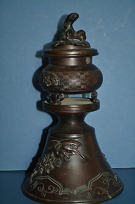 Antique Late 19th Century Chinese Bronze Censor, Dragon, Bird Decoration ,c 1890