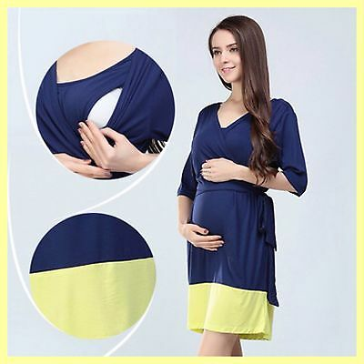 Sale!! Bnwt Blue Maternity Breastfeeding Nursing Dress Size M L Xl 10 12 14 16