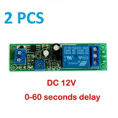 2Pcs , 12 Vdc Adjustable , On Delay Time , 0 To 20 Seconds , 10 Amp Relay Board