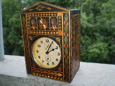 Vintage old alarm clock bell unique wooden box