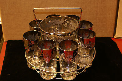 Vintage Dorothy Thorpe Silver Rim Fade Etched Leaves 8 Glasses & Ice Bucket Set