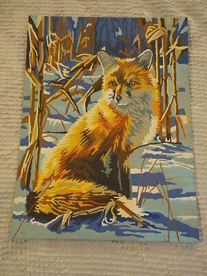 "Paint by Number Style Print of Fox in Woods (9""X 12"")"