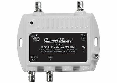 2 Port Cable TV Signal Booster Channel Master Distribution Amplifier RF 3412