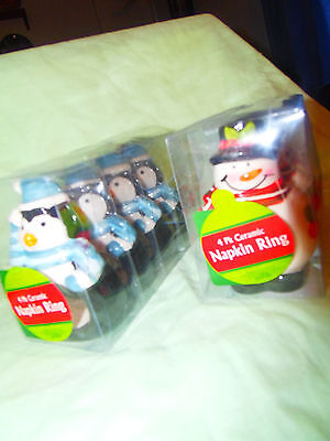 Snowman and Penguin Christmas Ceramic Napkin Rings 4 pk NEW in Package