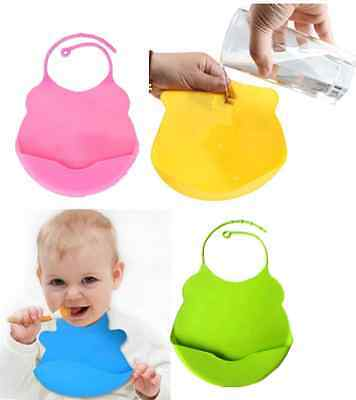 Waterproof Silicone Bib Great For Baby Infant Kid Slobber Pocket Mommy's Helper#