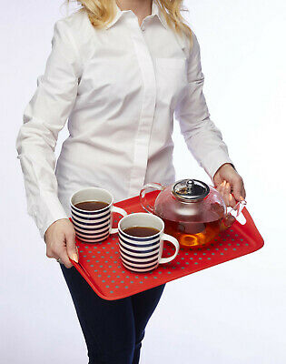 Kitchen Craft Non-Slip Serving Lap Tray with Handles Spot Pattern 4 Colours