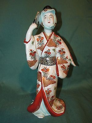 Fine Antique Japanese Kutani Porcelain Figure of Geisha