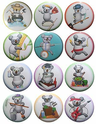 Pack-12 Valxart Funny Cartoon Koala Collection #4 Pinback Buttons, 2.25 in
