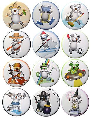 Pack-12 Valxart Funny Cartoon Koala Collection #3 Pinback Buttons, 2.25 in