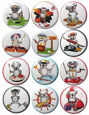 Pack-12 Valxart Funny Cartoon Koala Collection #2 Pinback Buttons, 2.25 in