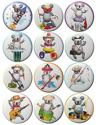 Pack-12 Valxart Funny Cartoon Koala Collection #1 Pinback Buttons, 2.25 in