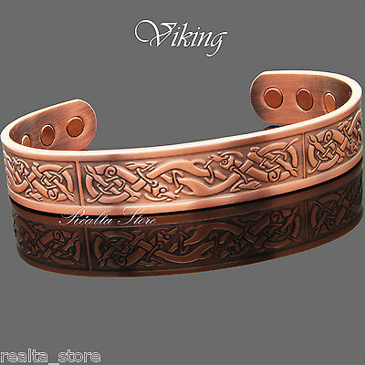 VIKING - Magnetic Solid Copper Bracelet Bangle - Arthritis Therapy & Pain Relief