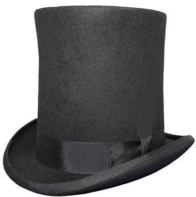 """100% Wool Black Lincoln Stovepipe 8"""" High Top Hat Satin Lined 5 Sizes Sent Boxed"""
