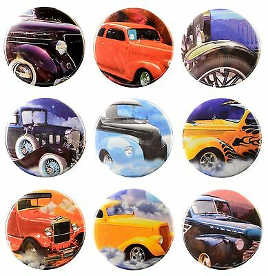 Pack-9 Valxart Vintage Classic Cars Collection #1 Magnets, 2.25 in