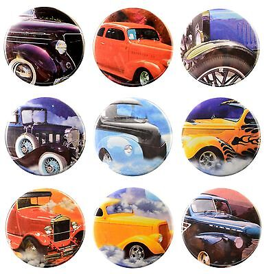 Pack-9 Valxart Vintage Classic Cars Collection #1 Pinback buttons, 2.25 in