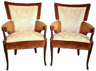 Fabulous Pair Hollywood Regency Mahogany Arm Chairs Original Two Tone Upholstery