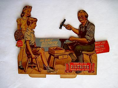 Charming 50's Biltrite Rubber Heels & Soles Mechanical Advertising Card *