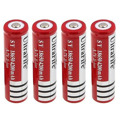 4x UltraFire 18650 4200mAh 3.7V Rechargeable Li-ion Battery for Flashlight torch