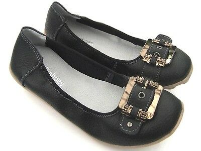 WOMENS Full Soft LEATHER Ballet FLATS Buckle Nodules SHOES Black Casual Comfort