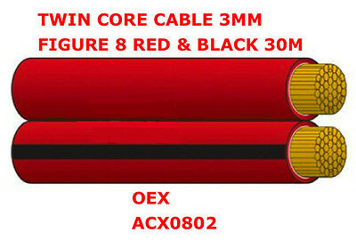 30m Roll 3mm Figure 8 Red & Black Twin Core cable 3mm x 30m Cable OEX ACX0802