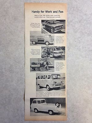 Vintage Ad: 1961 Farm Trucks inc. Dodge Dart, VW, Corvair, Ford van and pickup